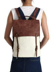 Color-block Contrast Canvas Buckle Backpacks