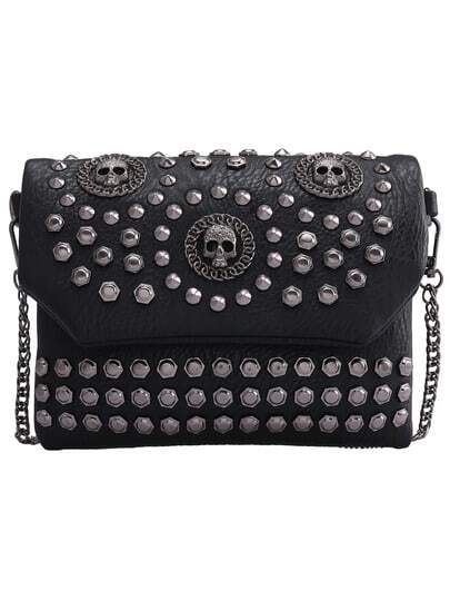 Black With Studded Skull Shoulder Bag pictures