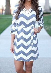 Blue White Hipster Round Neck Zigzag Print Dress