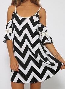 Black White Spaghetti Strap Zigzag Chiffon Dress