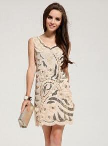 Apricot Round Neck Sleeveless Sequined Slim Dress