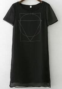Black Short Sleeve Geometric Print Dress