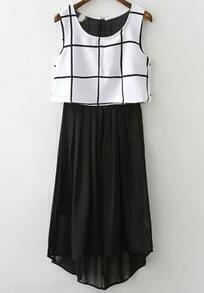 Black White Sleeveless Plaid Chiffon Dress
