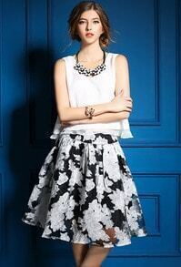 White Round Neck Chiffon Top With Black Floral Skirt
