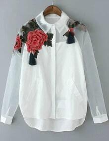White Lapel Long Sleeve Ikat Neat Awesome Embroidered Organza Blouse