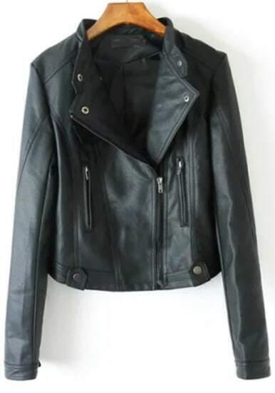 Black Stand Collar Zipper PU Crop Jacket