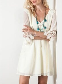 White Half Sleeve V Neck With Lace Dress
