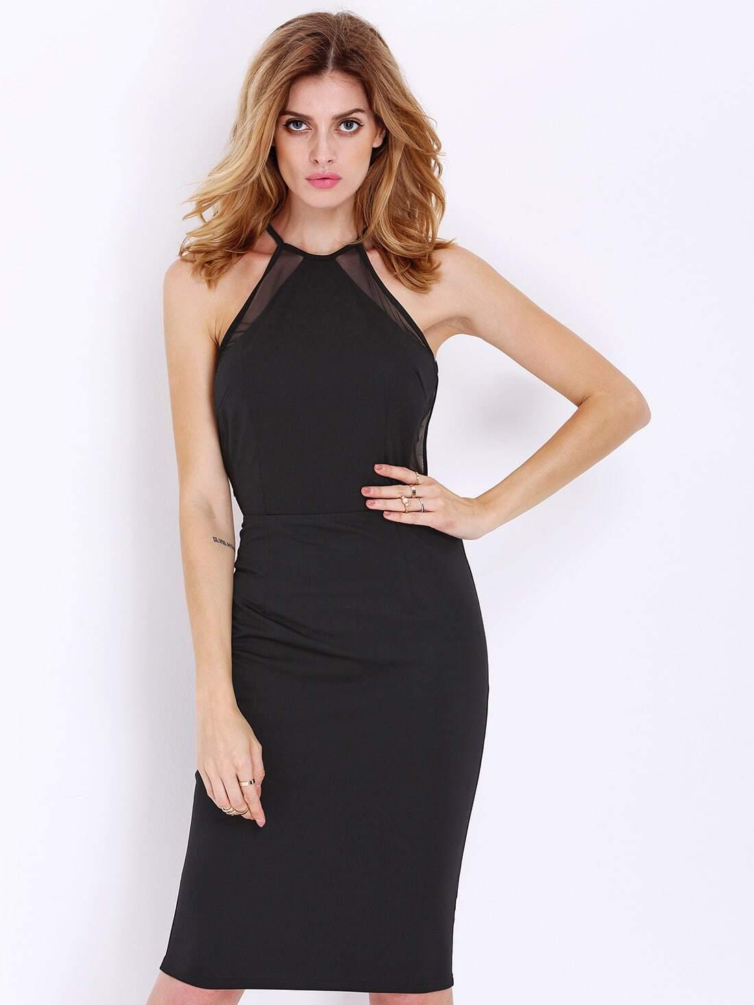 Black Sleeveless Backless Slim Dress