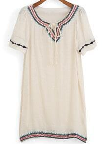 Lace Up Embroidered Shift Dress