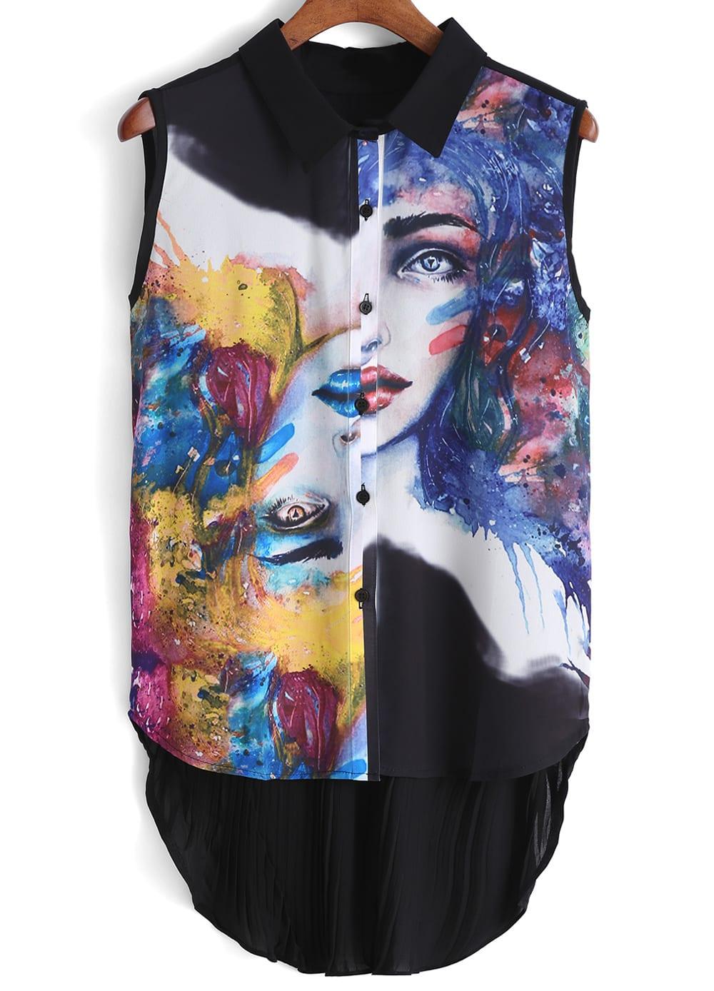 Lapel Dip Hem Ikat Neat Awesome Painted Print Black Blouse