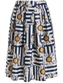 Sunflower Print Pleated Skirt