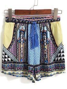 Drawstring Tribal Print Yellow Shorts