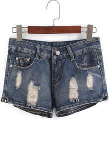Blue Ripped Straight Denim Shorts