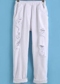 White Elastic Waist Ripped Denim Pant