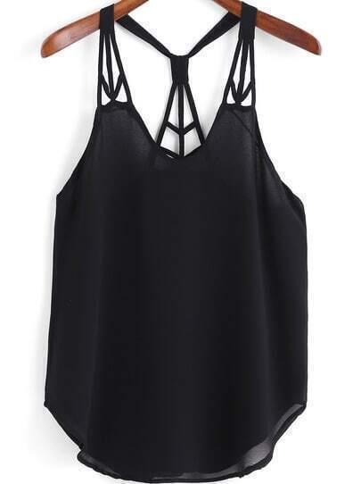 Black Spaghetti Strap Backless Chiffon Cami Top