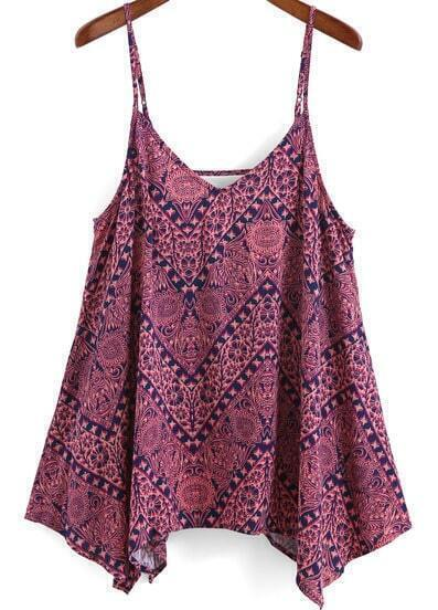 Rose Red Spaghetti Strap Floral Cami Top