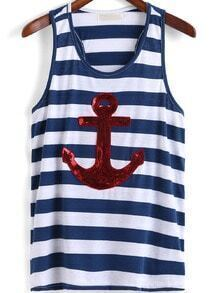 Blue Striped Anchor Sequined Tank Top