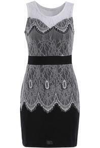 Black Round Neck Sleeveless Lace Bodycon Dress