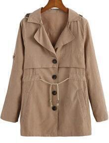 Khaki Lapel Drawstring Waist Buttons Coat