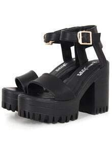 Black Chunky High Heel Buckle Strap Hidden Platform Sandals