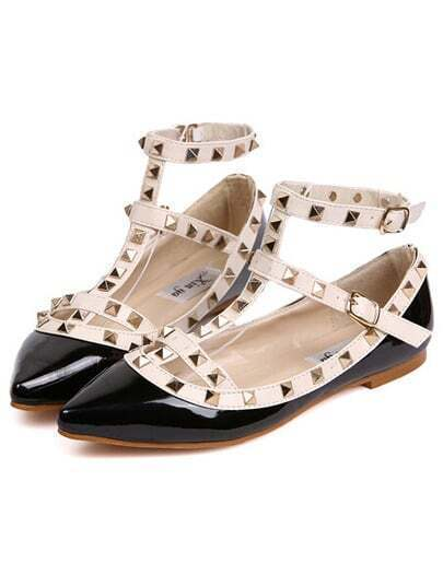 Black Rivet Point Toe Flats