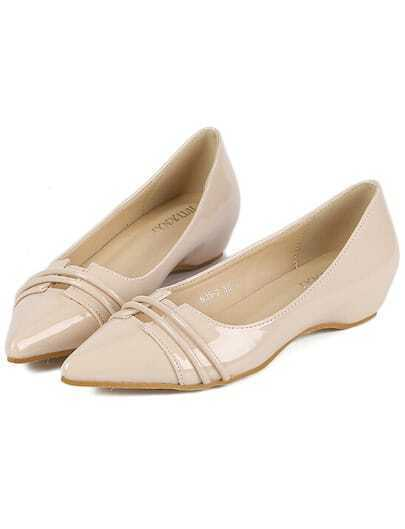 Nude Point Toe Hollow PU Flats