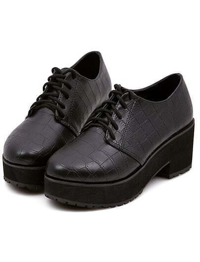 Black Shoelace Thick-soled PU Flats
