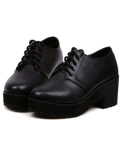 Black Mid Heel Casual PU Flats