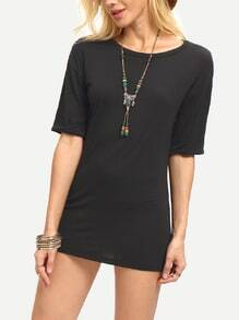 Black Round Neck Slim Bodycon Dress