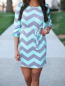 Grey Green Round Neck Zigzag Print Bodycon Dress