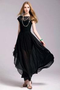 Black Boat Neck Cap Sleeve Lace Chiffon Dress