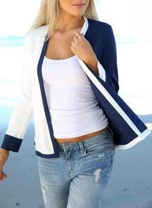 Blue White Long Sleeve Loose Casual Coat