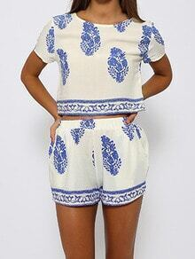 White Short Sleeve Blue Floral Crop Top With Shorts