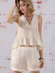Beige V Neck Sleeveless Ruffle Top With Shorts