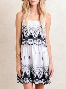 White Spaghetti Strap Tribal Embroidered Dress