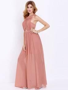 Orange Sleeveless Backless Maxi Dress