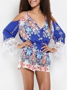 Blue Spaghetti Strap Floral Print With Lace Playsuit