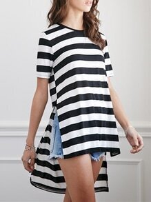 White Black Short Sleeve Striped High Low T-Shirt