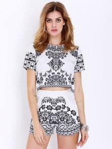 White Short Sleeve Vintage Print Top With Shorts