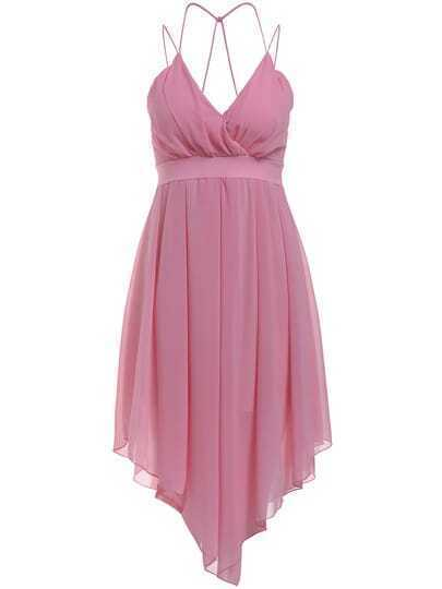 Pink Spaghetti Strap Pleated Chiffon Dress