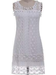 White Sleeveless Mesh Lace Slim Dress