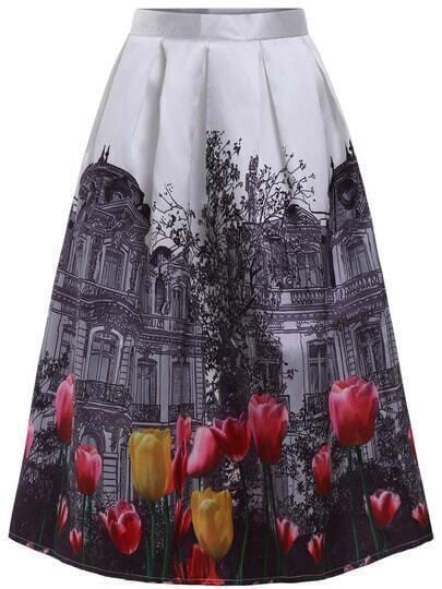 White Tulips House Print Flare Skirt
