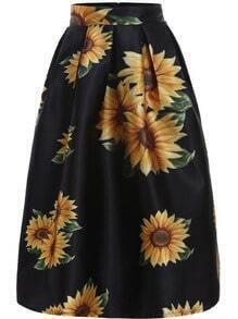 Black Sunflowers Print Flare Skirt