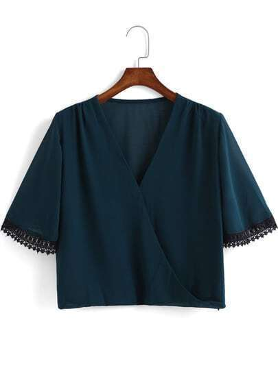 Green V Neck Lace Embellished Crop Blouse