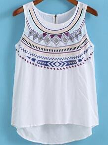 White Round Neck Embroidered Tank Top