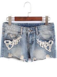 Blue Bleached Lace Embellished Denim Shorts