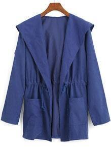 Blue Hooded Drawstring Waist Pockets Trench Coat