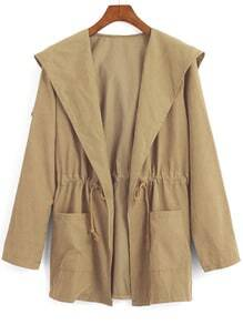 Khaki Hooded Drawstring Waist Pockets Trench Coat