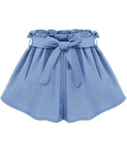 Blue Casual Tie-waist Shorts