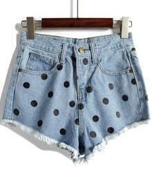 Blue Polka Dot Fringe Denim Shorts